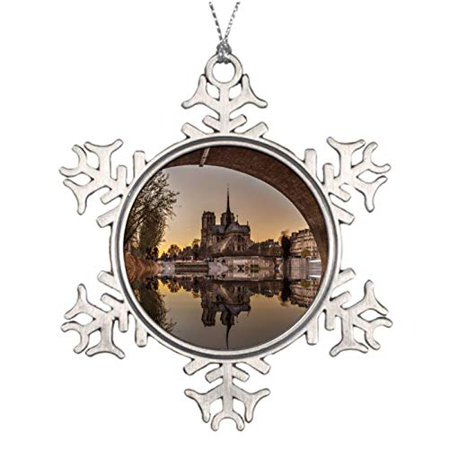 Christmas Ornaments, Notre Dame Paris France Pewter Ornament, Snowflake Ornament Tree Hanging Decor Gift,3 Inch