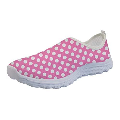 Pink Polka Dot Athletic Walk Casual Mesh-Comfortable Travel Work Sneaker Shoes