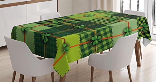 Ambesonne Irish Tablecloth, Patchwork Style St. Patrick's Day Themed Celtic Quilt Cultural Checkered Clovers, Rectangular Table Cover for Dining Room Kitchen Decor, 60' X 90', Green Orange