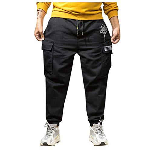 WFRAU Herren Übergröße XL-7XL Einfarbig Jogging Sweat Hosen Modisch Elastische Gürtel Lange Skateboard Sports Cargo Hosen mit Taschen Joggers Activewear Hosen Jogginghose