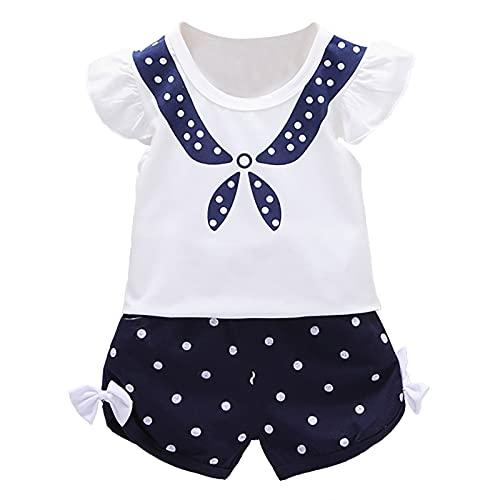 winying Baby Mädchen Kurzarm Body Strampler mit Matrosen Anzug Druck Sommer Einteiler Kurzes Overall Kleinkinder Jumpsuit Navy Blau 92-98