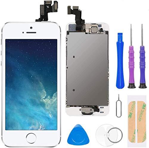 FLYLINKTECH Pantalla para iPhone 5s/se , Pantalla Táctil LCD con botón de Inicio,Cámara Frontal, Sensor de proximidad, Altavoz y Herramientas-Blanco