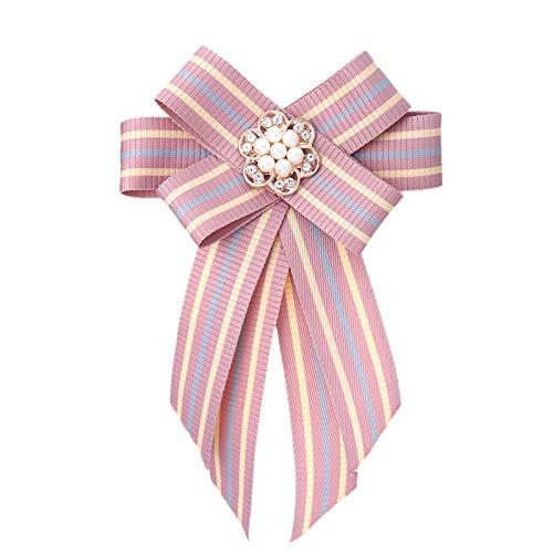 Brosche mit Schleife, Stoff-Kristall-Anstecknadeln und Brosche, Anstecknadel, Schmetterling, Bluse, Zubehör für Damen (Metallfarbe: 1)