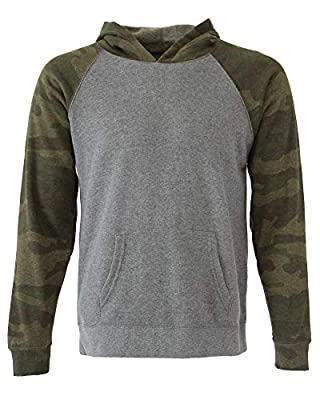 Global Blank Youth Hooded Long-Sleeve Hoodie Sweat-Shirt Unisex Kids 2T-16 Years Grey/Camouflage
