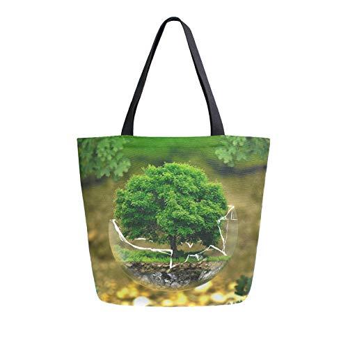 JinDoDo Bolsa de lona para protección del medio ambiente árbol ecológico reutilizable bolsa de mano para mujer, para ir de compras, viajes, playa, escuela
