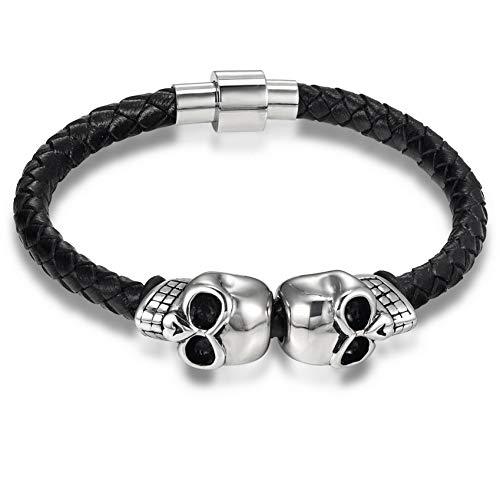 WXYBF Heren armband Mannen Magneet Schedel RVS Touw Armbanden Mode Lederen Armband