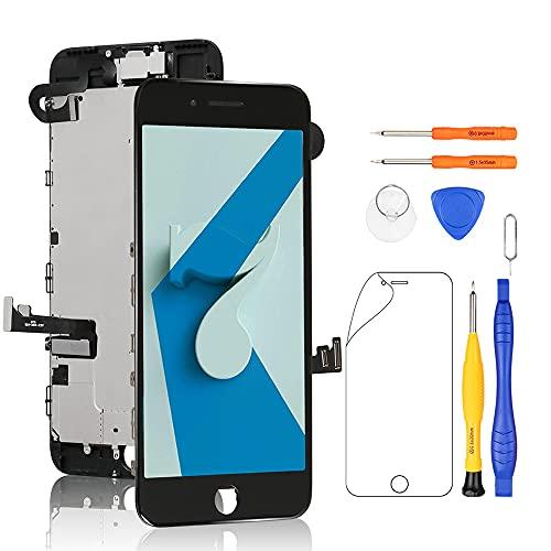 Yodoit för iPhone 7 skärmbyte svart med främre kamera, hörlurshögtalare, skärmplatta, LCD-display touch digitaliserare montering + reparationsverktyg, skärmskydd