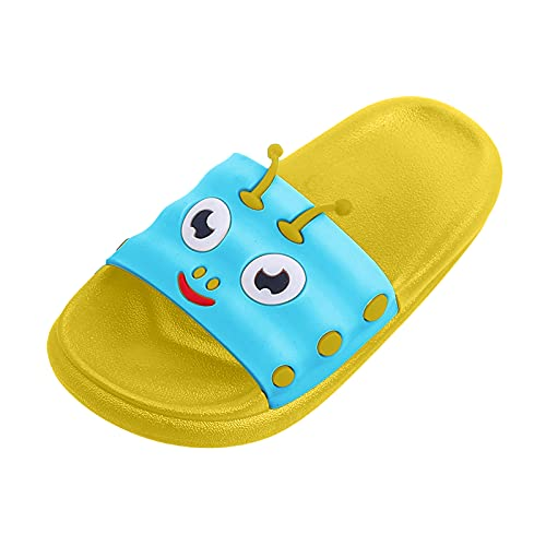 Zapatillas de playa suaves para el suelo, zapatillas de estar por casa, para niñas, jóvenes, antideslizantes, para verano, suaves, chanclas de baño, para el hogar, oruga, verde, 28
