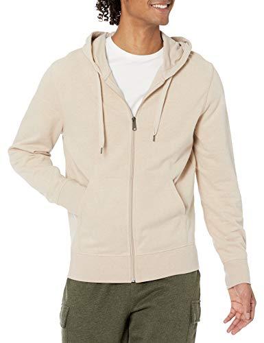 Amazon Essentials Men's Lightweight French Terry Full-Zip Hooded Sweatshirt, Oatmeal Heather, Large