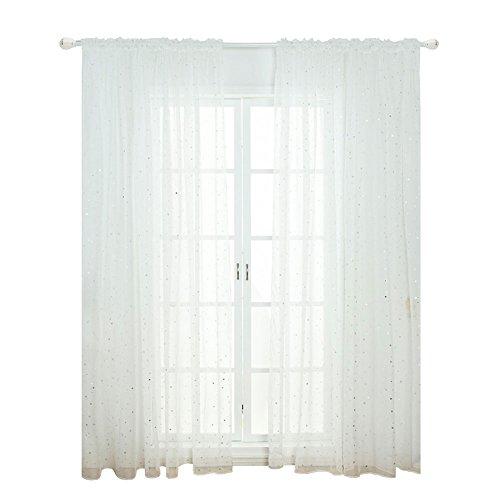 Xpccj - Cortina de tul con diseño de estrellas, estilo moderno, decoración de sala de estar, cortinas de color puro para el hogar, No nulo, Blanco, 100x200cm
