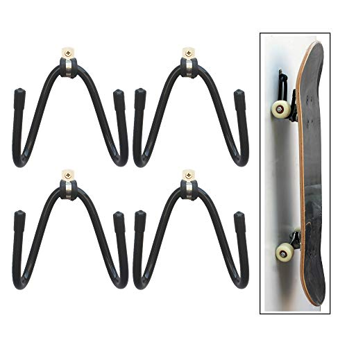 YYST Skateboard Wall Mount Wall Hanger Rack Storage Display - W/ Hardware - No Board Included - W Style - 4/PK