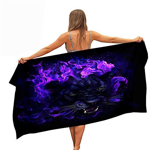 Surwin Toallas de Playa Microfibra, 3D Leopardo Impresión Grande Toalla de Playa Verano Secado Rápido Arena Antiadherente Absorbente Toalla para Viaje Nadar Piscina (Llama púrpura,70x150cm)