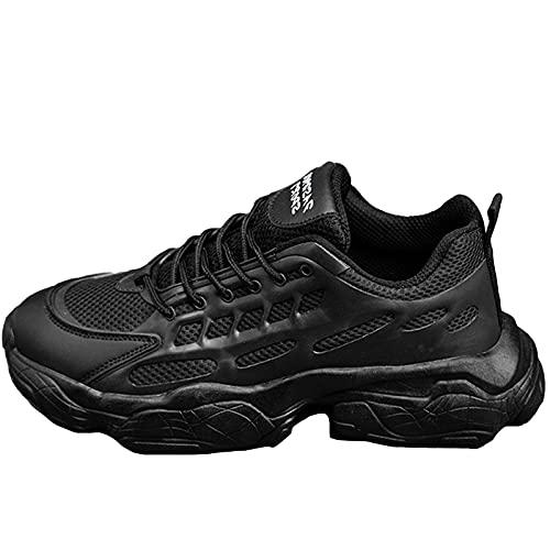 Entrenadores de Zapatillas de Deporte para Hombres, Zapatos Deportivos de Tenis de Moda al Aire Libre Casual Zapatos de Atletismo de Malla Transpirables,Negro,41