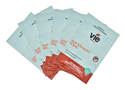 VIE, salviettine anti zanzare, Deet Free, sacchetto singolo, adatto a tutta la famiglia (24 salviette)