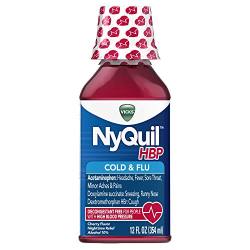Vicks NyQuil High Blood Pressure Cold and Flu Medicine, 12 fl oz, Cherry Flavor - Relieves Headache, Fever, Sore Throat, Minor Aches and Pains