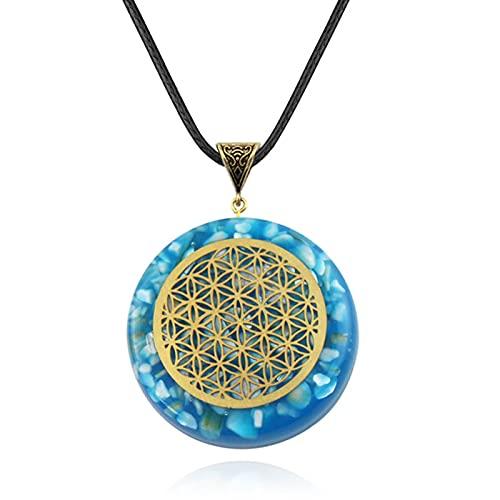 Colgante De Piedra Triturada De Siete Chakras, Collar De Yoga De Piedra De Poder De Órgano De Cristal, 3,9 Cm * 4,3 Cm, Azul Zafiro