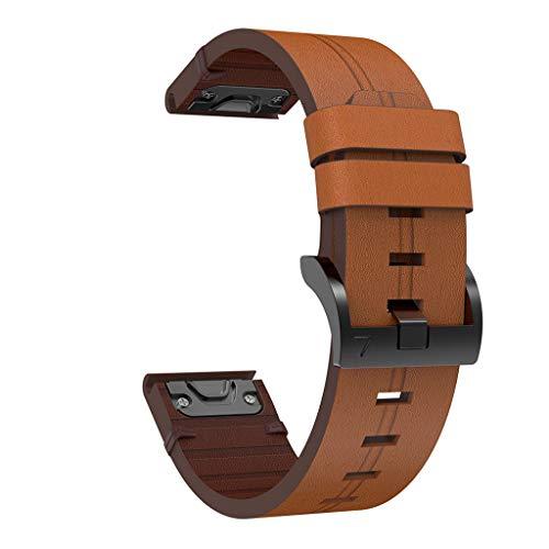 MEIYIN Pulseira de couro para relógio de substituição, pulseira de pulso de liberação rápida para Fenix 6/5/5 Plus