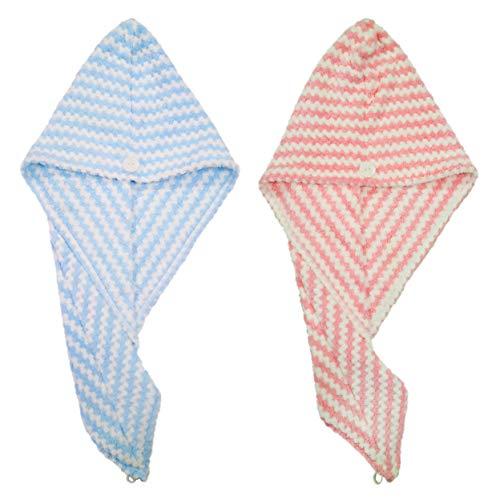 Polyte Microvezel Haar Turban Wrap Drogen Handdoek, 10 x 26 in, 2 Pack (Blauw/Roze)