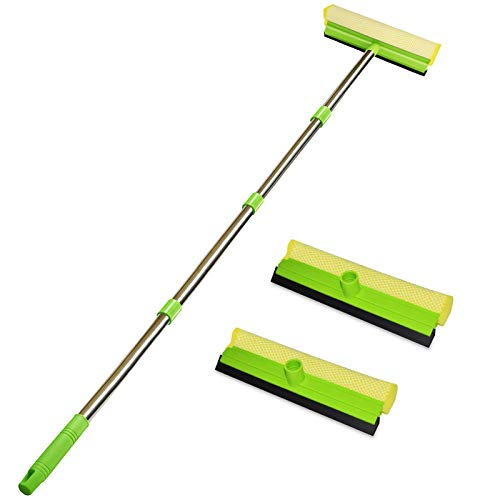 """ITTAHO Multi-Use Window Squeegee, 2 in 1 Squeegee Window Cleaner with Long Extension Pole, Sponge Car Window Squeegee with 58""""Long Handle for Gas Station, Glass,Shower,Outdoor High Window Cleaning"""