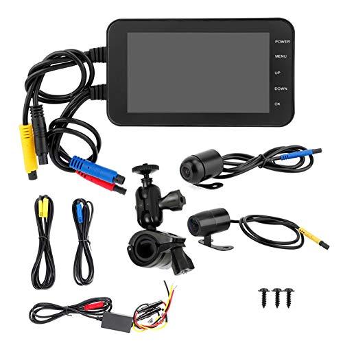 Grabador DVR para motocicleta, DVR para motocicleta de 4 pulgadas, 1080P, impermeable, WiFi, frontal y trasero, doble lente, retrovisor, cámara del motorista, grabadora de video de conducción, cámara
