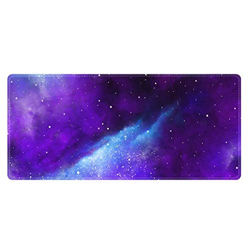 Meffort Inc Extra Large Extended Gaming Desk Mat Non-Slip Rubber Pads Stitched Edges XXLG Mouse Pad 35.4 x 15.7 inch - Galaxy Universe
