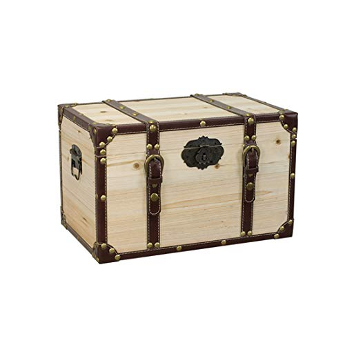 Retro Solid Wood Storage Box Made Old With Lock Wooden Box Window Decoration Bins Antique Box Collection Log Boxs(Color:style4,Size:30x20x20cm)