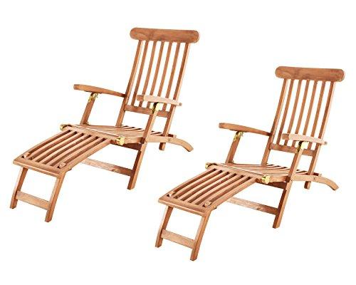 SAM 2er Set Teak-Holz Deckchair Puccon, verstellbare Sonnenliege, klappbar, ideal für Balkon, Terrasse und Garten
