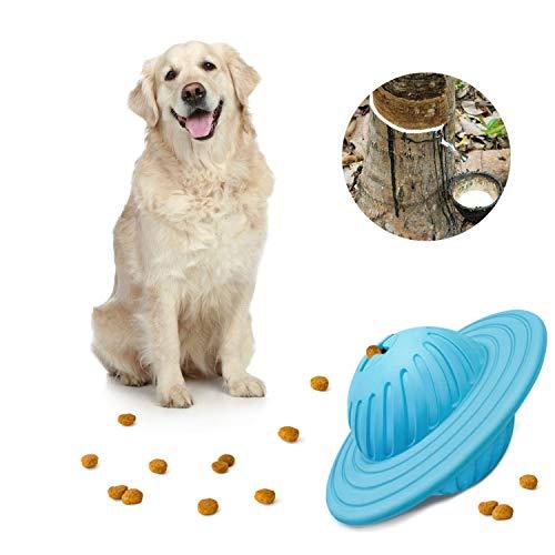KASMOTION Hundeleckerli-Ball, interaktives IQ Leckerli-Spender, Puzzle, fliegende Scheibenform, ungiftiges Naturkautschuk-Spielzeug für mittelgroße und große Hunde