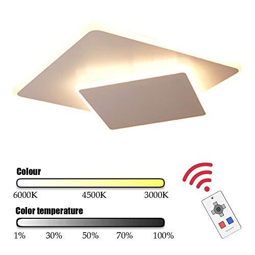 3000K-6000K LED Plafond Licht, Inbouw 36W Vierkante LED Lamp Van Het Plafond Voor De Keuken Slaapkamer Gang, Dimbaar Met Afstandsbediening,White