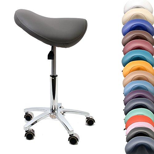 Promafit Sattelhocker/Sattelstuhl mit Gummirollen für alle Böden und Metallfuß - ergonomisch - stufenlos höhenverstellbar - viele Farben - 360° drehbar (Grau, Ohne Fußring)