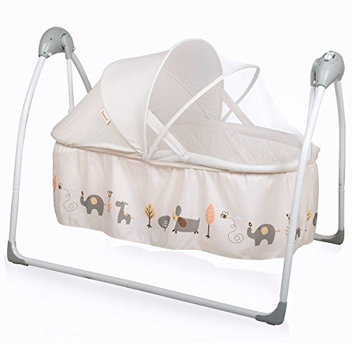 Baninni Gondola elektrische Babywiege Babyschaukel Babybett mit Schaukelfunktion, Musik, Naturgeräusche, Timer, inkl. Matratze (Beige)