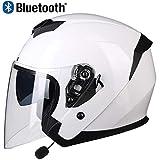 Professionnel 3/4 Casques Jet de Moto avec Écouteur Bluetooth, Léger Harley...