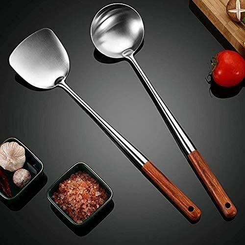 Ghlevo Wok Spátula y cucharón, Skimmer Stay Tool Set, 17 Pulgadas Espátula para Wok, 304 Spátula Wok Wok