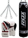 RDX Punching Bag UNFILLED Set Muay Thai Training Punch Gloves with Hanging Chain, Great for MMA, Kick Boxing, Martial Arts, Available in 4FT 5FT