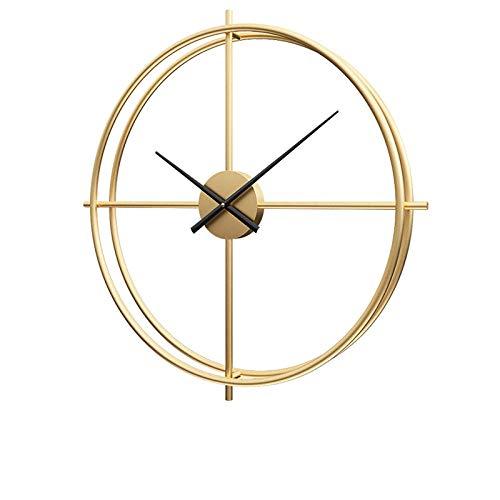 B/H Reloj de Pared silencioso diámetro maquinaria,Reloj de Pared Simple y Creativo, Reloj de Hierro de Lujo Ligero-Dorado A_50cm,para Decorar La Oficina Casa Reloj de Pared