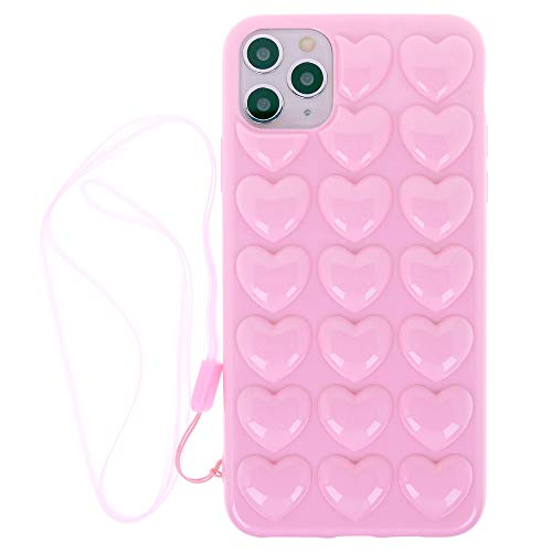 iPhone 11 Pro Max Case for Women, DMaos 3D Bubble Heart Cover with Lanyard Strap Necklace, Cute Girly for iPhone11 Pro Max 6.5 inch 2019 - Pink
