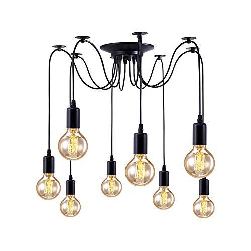 Lámpara de techo con 8 cabezas de araña, con cable de 1,8 m, E27, estilo vintage, lámpara industrial para dormitorio, cocina y barra