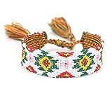 CEXTT Tela Pulsera étnica Mujer Pulseras de Amistad de algodón con toques de tirolina a Mano, Regalo para Boda de cumpleaños Navidad