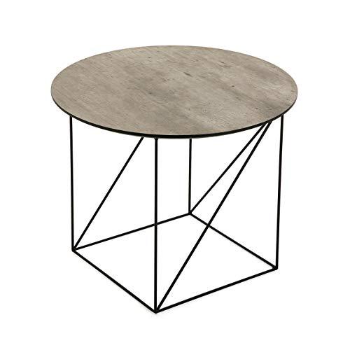 Versa 20360094 bijzettafel Kaolu, hout en metaal, bruin en zwart, 45 x 55 x 55 cm
