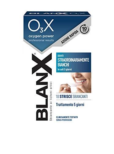 BlanX, O3X Strisce Sbiancanti, Con Ossigeno Attivo e Licheni Artici, Sbiancamento Denti, Denti Straordinariamente Bianchi - 10 Strisce