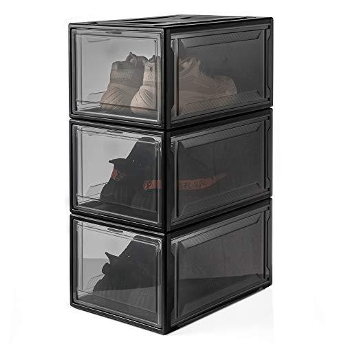 Yorbay Cajas de Zapatos apilable, Paquete de 3, Transparente Plástica,Organizador de Cajas de Almacenamiento de Zapatos Negro