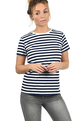 DESIRES Maya Damen T-Shirt Kurzarm Streifenshirt Shirt Mit Rundhalsausschnitt, Größe:XL, Farbe:Insignia Blue (1991)
