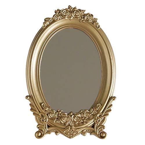 PIXNOR Espejo de Sobremesa Vintage Espejo de Maquillaje Decorativo Espejo Antiguo Ovalado Bandeja de Tocador para Vestidores de Dormitorio Hogar Sala de Estar Baño Fotografía Prop Dorado