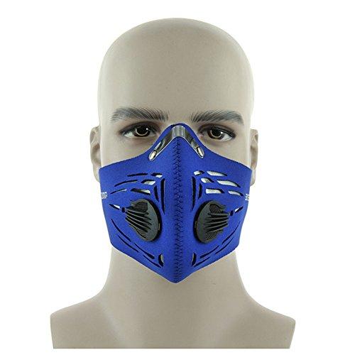 Extrbici - Maschera antipolvere al carbone attivo, antivento, anti-foschia, per attività all'aperto, bicicletta, moto, Blue