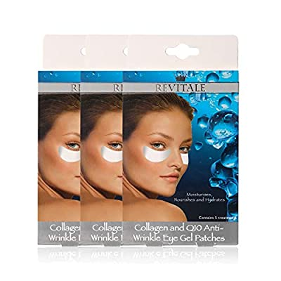 Revitale Collagen and Q10 Anti-Wrinkle Eye Gel Patches - Moisturises & Hydrates (3 Boxes)(15 Patches) by Revitale