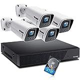 TOGUARD 4K Kit de Cámaras de Vigilancia PoE con 3TB HDD, 4pcs 8MP Sistema de Vigilancia de Cámara IP NVR de 8CH, H.265, Visión Nocturna, Grabación 24/7, Detección de Movimiento, Alerta de Email
