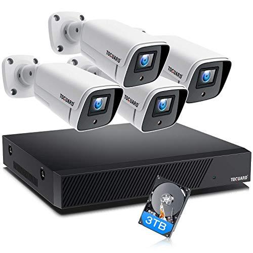 TOGUARD 8CH 4K Kit Videosorveglianza PoE Esterno, 4X 8MP Telecamere IP Sistema di Sorveglianza con HDD da 3TB NVR, H.265, Visione Notturna, Registrazione 24/7, Rilevazione del movimento, Avviso E-mail