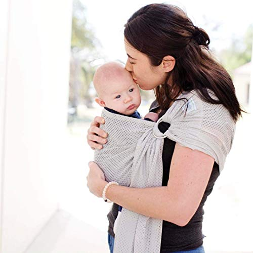Beachfront Baby - Versatile Water & Warm Weather Ring Sling Baby Carrier   Made in USA with Safety Tested Fabric & Aluminum Rings   Lightweight, Quick Dry & Breathable (Silver Wave, One Size)