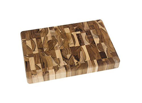 Lipper International 7218 Teak Wood End Grain Kitchen Chopping Block and Cutting Board, Small, 12' x 8' x 1-1/4'