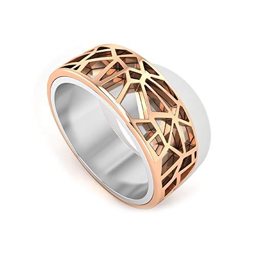 Anillo de compromiso Art Deco con tonos mixtos de eternidad, filigrana antigua engaaraved, anillo de compromiso para novio, declaración de oro para hombre, 14K Oro rosa, Size:EU 47